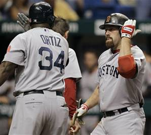 Youkilis and Ortiz Celebrate After 4th Inning Homerun